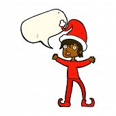 stock photo of elf  - cartoon excited christmas elf with speech bubble - JPG