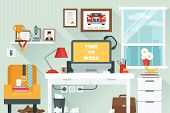 stock photo of time study  - Workspace in room with flat work study and interior icons vector illustration - JPG