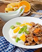 foto of dessert plate  - Healthy dessert with muesli and fruit in a white plate on the table - JPG