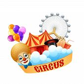 stock photo of arena  - Colorful circus concept with clown balloons magic hat arena Ferris wheel popcorn and cream soda vector illustration - JPG