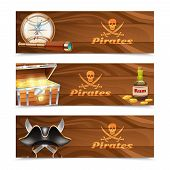 pic of pirate hat  - Three horizontal wooden pirate banners with jolly roger rum treasure chest looking glass gold compass and cocked hat isolated vector illustration - JPG