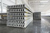 picture of slab  - Stack of precast reinforced concrete slabs in a house - JPG
