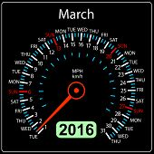 image of speedometer  - 2016 year calendar speedometer car - JPG