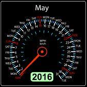 stock photo of speedometer  - 2016 year calendar speedometer car - JPG