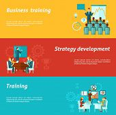 pic of business class  - Business training horizontal banners set with strategy development elements isolated vector illustration - JPG