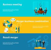 pic of collaboration  - Collaboration horizontal banner set with merger business meeting elements isolated vector illustration - JPG