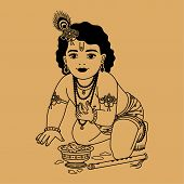 picture of krishna  - Little Krishna with a plate of porridge and a pipe on a beige background - JPG