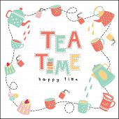 picture of tea bag  - Tea time happy time doodle illustration pastel color vector on white background teapot tea cup tea bag cake - JPG
