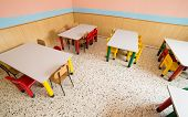 stock photo of canteen  - chairs and tables in the canteen of a refectory of kindergarten - JPG