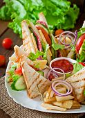 picture of tomato sandwich  - Club sandwich with cheese - JPG