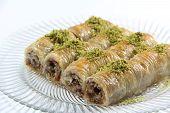 pic of baklava  - Turkish dessert baklava isolated on white background - JPG