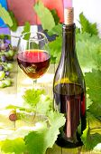 stock photo of wine grapes  - Glass of red wine on a wooden table with leaves of grapes corkscrew and wine corks and bottle of wine and a bunch of young grapes - JPG