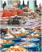 image of stall  - Traditional asian fish market stall full of fresh and dried seafood - JPG