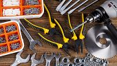 picture of triplets  - Set of different tools on wooden background - JPG