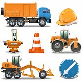 image of road construction  - Road Construction Icons including truck - JPG