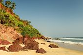 foto of cliffs  - Beautiful orange cliffs on the Varkala beach - JPG