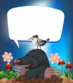 picture of groundhog  - Groundhog and bird with speech bubble - JPG