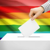 pic of transgendered  - Ballot box with national flag on background series  - JPG
