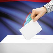 picture of guam  - Ballot box with national flag on background series  - JPG