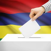 picture of mauritius  - Ballot box with national flag on background series  - JPG