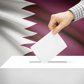 foto of qatar  - Ballot box with national flag on background series  - JPG