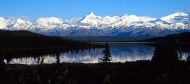 picture of mountain-range  - Mountain Range near Denali reflected in lake - JPG