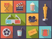 Movie and Cinema icons vector illustration. Horizontal flat design illustration with various movie a poster