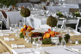 image of wedding table decor  - table setting for a wedding or dinner event - JPG