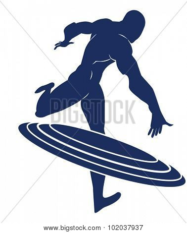 Captain America Blue Silhouette of