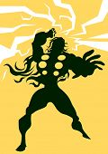 Постер, плакат: Thor Black Silhouette of a Man with Lightning Bolts Yellow Background vector illustration