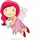 foto of tooth-fairy  - Illustration of a Tooth Fairy Carrying a Tooth - JPG
