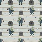 Постер, плакат: Zombie Seamless Pattern