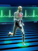 stock photo of ekg  - Conceptual image of a running man and its heart rhythm - JPG