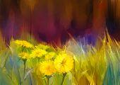 Постер, плакат: Oil Painting Nature Grass Flowers yellow Dandelions
