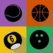 ������, ������: Sport Balls Silhouettes Vector Set