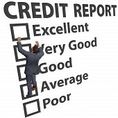 stock photo of average man  - Business man debt consumer works to build up credit score rating report - JPG