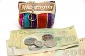 picture of memento  - souvenir memento key chain change purse hand made woven colorful fabric made in Nicaragua with cordoba coins and paper bill currency - JPG