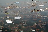 foto of water pollution  - water pollution with garbage and toxic material - JPG
