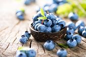Постер, плакат: Freshly picked blueberries in wooden bowl Juicy and fresh blueberries with green leaves on rustic t