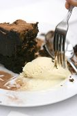 image of chocolate fudge  - ice cream served with rich chocolate fudge cake on white - JPG