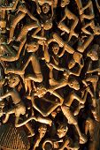 stock photo of woodcarving  - details of african traditional unique fine woodcarving - JPG