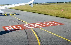stock photo of no entry  - no entry sign at the runway at Charles de Gaulle - JPG