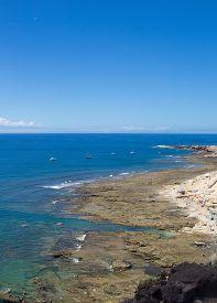 stock photo of naturist  - Gran Canaria El Confital beach on the edge of Las Palmas La Isleta peninsula cloud - JPG