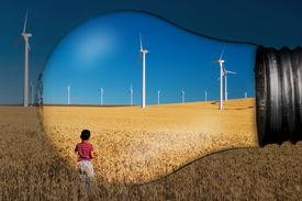 stock photo of farm landscape  - landscape in a light bulb - JPG