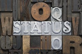 pic of status  - status quo cross words made from metallic letterpress blocks in mixed wooden letters - JPG