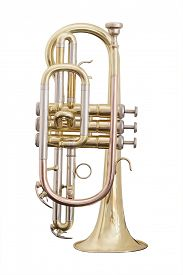 foto of wind instrument  - classical music wind instrument trumpet - JPG