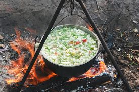 picture of cauldron  - vegetables prepared in a cauldron over a fire on the nature - JPG