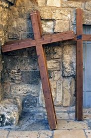pic of crucifixion  - Photo of crucifixion crosses in a street of the old city of Jerusalem Israel - JPG