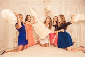 picture of pillow-fight  - girls celebrate a bachelorette party of bride - JPG
