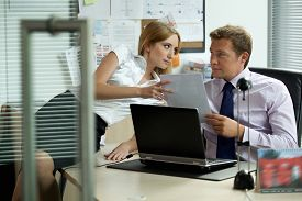 picture of office romance  - Office love affair concept - JPG